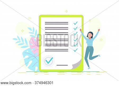 business people.Successful happy woman checking task success, completed business tasks. business people.Entrepreneur checklist.business people