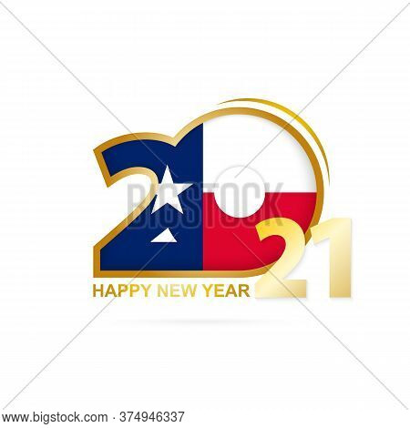 Year 2021 With Texas Flag Pattern. Happy New Year Design. Vector Illustration.