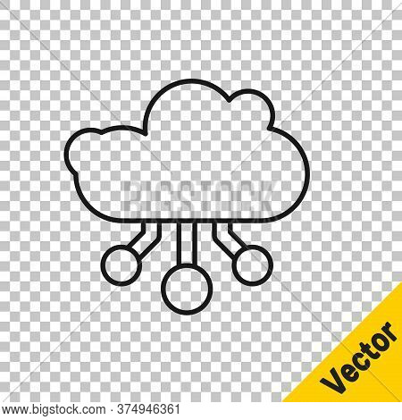 Black Line Internet Of Things Icon Isolated On Transparent Background. Cloud Computing Design Concep