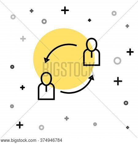Black Line Human Resources Icon Isolated On White Background. Concept Of Human Resources Management,
