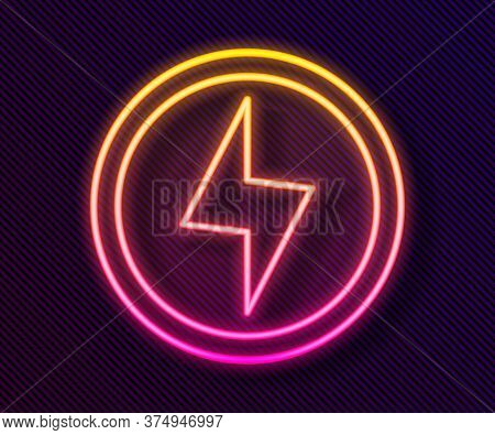 Glowing Neon Line Lightning Bolt Icon Isolated On Black Background. Flash Sign. Charge Flash Icon. T
