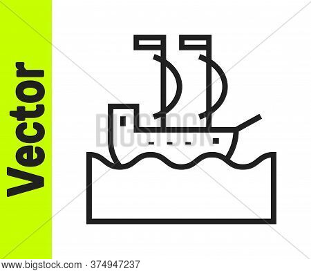Black Line Sailboat Or Sailing Ship Icon Isolated On White Background. Sail Boat Marine Cruise Trave