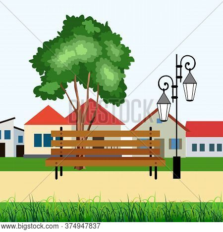 Street Landscape, With Houses, Lighting And Street Chair, Background For Different Designs