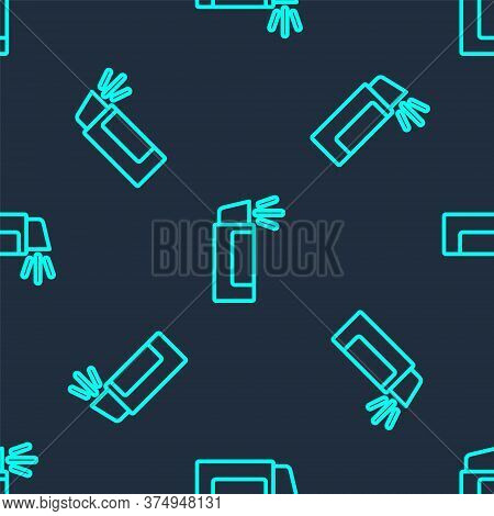 Green Line Pepper Spray Icon Isolated Seamless Pattern On Blue Background. Oc Gas. Capsicum Self Def