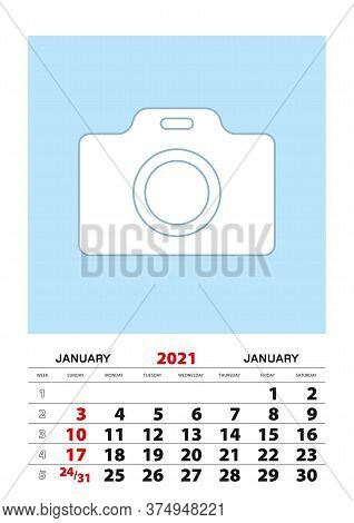 January 2021 Calendar Planner A3 Size With Place For Your Photo. Vector Planner.