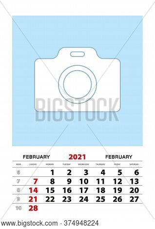 February 2021 Calendar Planner A3 Size With Place For Your Photo. Vector Planner.