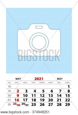 May 2021 Calendar Planner A3 Size With Place For Your Photo. Vector Planner.