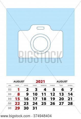 August 2021 Calendar Planner A3 Size With Place For Your Photo. Vector Planner.