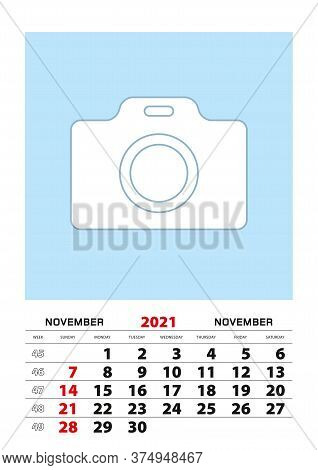 November 2021 Calendar Planner A3 Size With Place For Your Photo. Vector Planner.