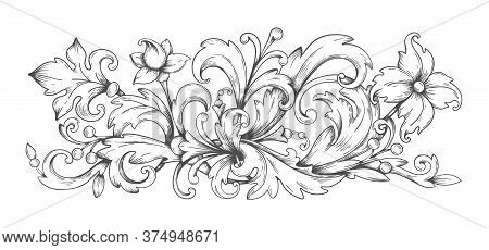 Baroque Ornament. Border Engraved Filigree Elements With Leaves, Vintage Victorian Scroll Decorative