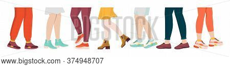 Shoes On Legs. Cartoon Sport And Fashion Wear On Foot, Female And Male Legs With Sneakers And Socks.