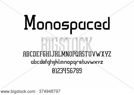 Modern Typography. Futuristic Font With Condensed Uppercase And Lowercase Symbols For Logo Design, H