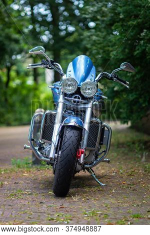 21 July 2019, Scheveningen, The Hague, Netherlands, Europe. Powerful Metallic Blue Triumph Motorcycl