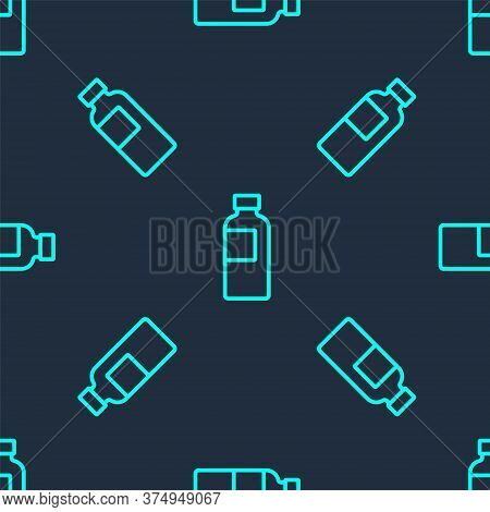 Green Line Fitness Shaker Icon Isolated Seamless Pattern On Blue Background. Sports Shaker Bottle Wi