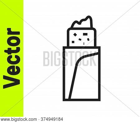 Black Line Burrito Icon Isolated On White Background. Traditional Mexican Fast Food. Vector