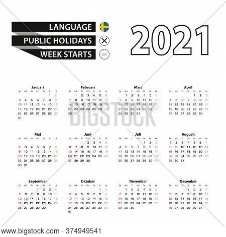 2021 Calendar In Swedish Language, Week Starts From Sunday. Vector Illustration.