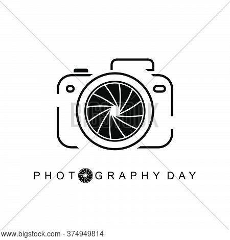 Photography Day Vector Illustration With Camera Outline Design.