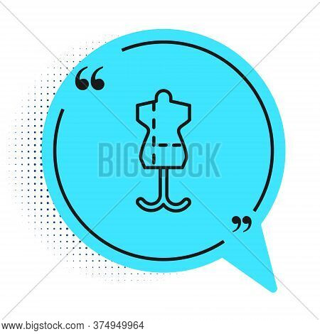 Black Line Mannequin Icon Isolated On White Background. Tailor Dummy. Blue Speech Bubble Symbol. Vec