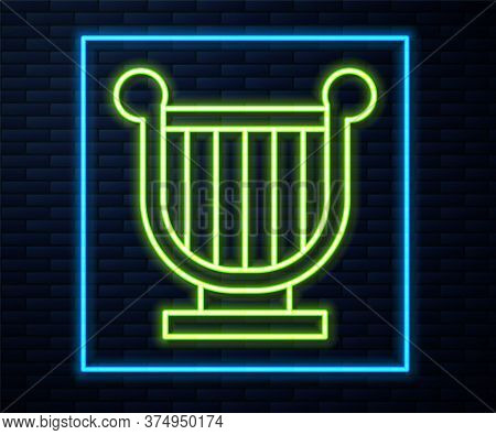 Glowing Neon Line Ancient Greek Lyre Icon Isolated On Brick Wall Background. Classical Music Instrum