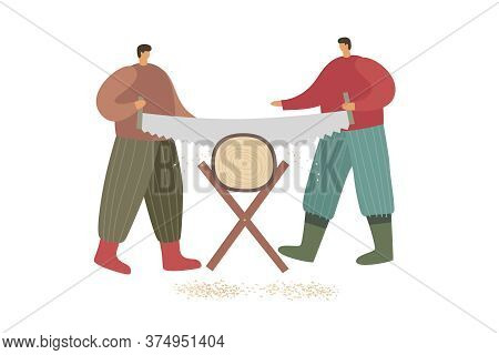Two Strong Village Men Sawing A Large Log. Rustic Labor, Agricultural Equipment And Rural Economy. E