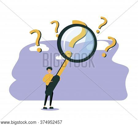 Man Holding Magnifying Glass And Looking Through It At Interrogation Points. Concept Of Frequently A