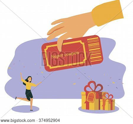Coupon Vector Illustration. Flat Tiny Shop Discount Voucher Persons Concept. Symbolic Chasing After