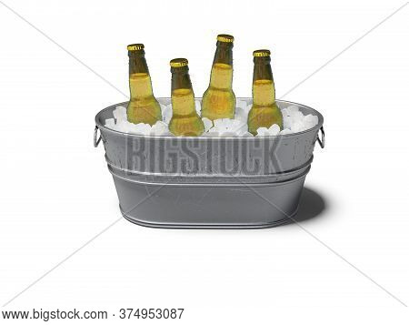 3d Rendering Concept Of Chilled Alcohol In Bucket With Ice On White Background With Shadow
