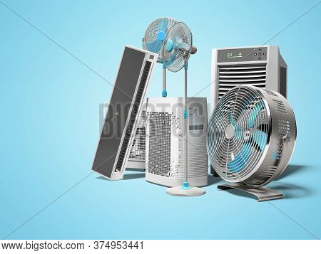 3d Rendering Of Blue Fans Air Conditioners And Portable Air Conditioners For Air Cooling Blue Backgr