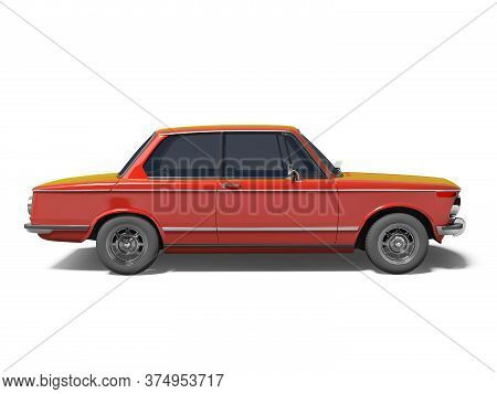 3d Rendering Red Classic Car On White Background With Shadow