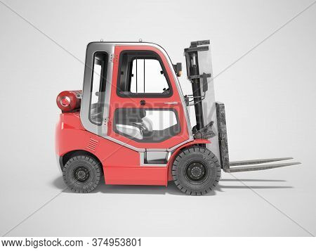3d Rendering Red Side View Gas Forklift For Warehouse Side View On Gray Background With Shadow