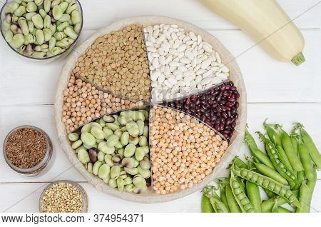 Vegan Source Of Protein. Beans, Lentils, Peas, Chickpeas, Beans. Top View On A White Table. Healthy