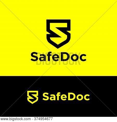 Safe Documents Logo. Black Letter Like Shield. S Monogram. Emblem Of Antivirus Or Protection System.
