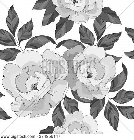 Seamless Pattern, Flowers Of Pions In Gray Colors, Ornament For Wallpaper And Fabric, Wrapping Paper