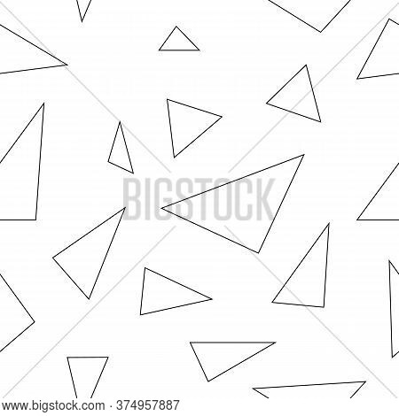 Seamless White Background Of Randomly Placed Sharp Black And White Pieces. Small And Large Fragments