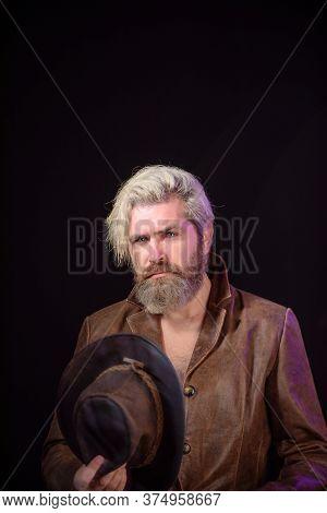American Cowboy. Cowboy Wearing Hat. Western Life. Bearded Man. Portrait Of Bearded Man Wearing Cowb