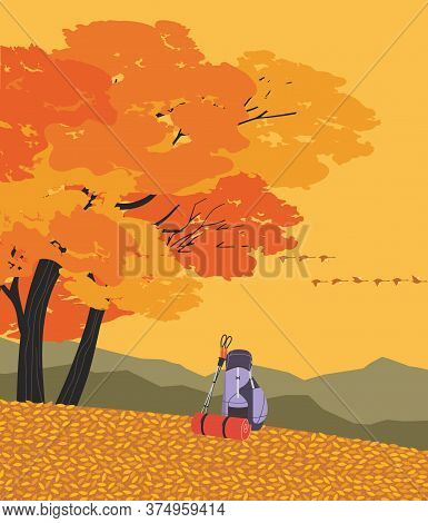 Autumnal Mountains Hiking Flat Color Vector Poster. Go On Autumn Fall Hike. Time For Hiking Trip Des