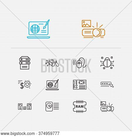 Hardware Icons Set. Hdd And Hardware Icons With Web Design, Projector And Server. Set Of Insect For