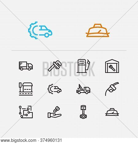 Car Icons Set. Gas Station And Car Icons With Car Seller, Roadside Tow And Delivery Truck. Set Of Pa