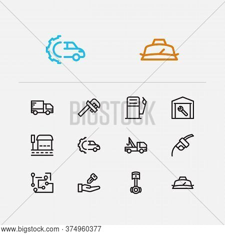 Car Service Icons Set. Gas Station And Car Service Icons With Car Seller, Roadside Tow And Delivery