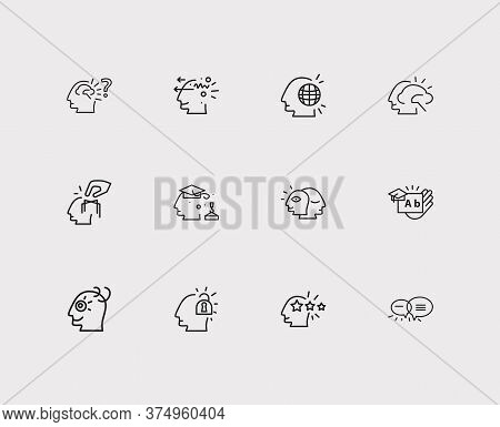 Mental Icons Set. Curious Mind And Mental Icons With Skill Learning, Basic Education And Alter Ego.