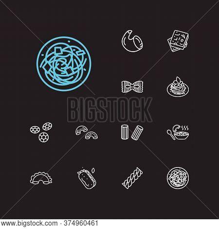 Cuisine Icons Set. Rigatoni Pasta Shape And Cuisine Icons With Pasta, Fusilli And Shape. Set Of Natu