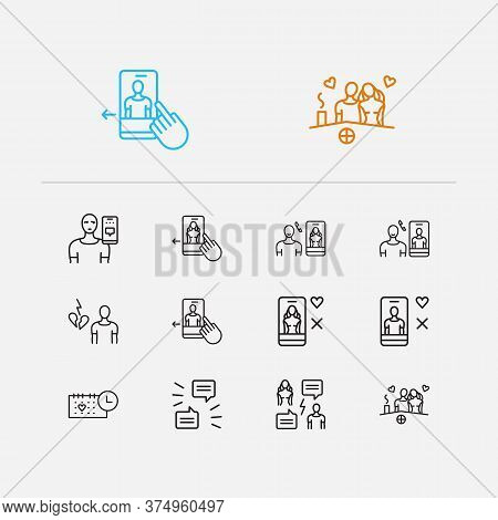 Couple Icons Set. Swipe Left Man And Couple Icons With Fighting Through Chat, Dating Profile Man And