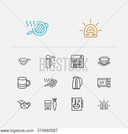 Utensil Icons Set. Grater And Utensil Icons With Cookery Book, Bowl And Teapot. Set Of Electrical Fo