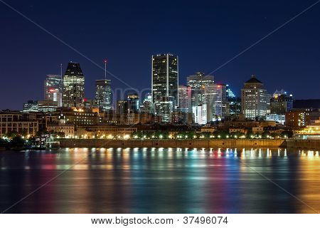 View of Downtown Montreal at Night.