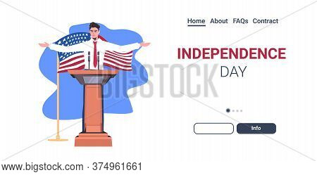 United States Politician Making Speech From Tribune With Usa Flag 4th Of July American Independence