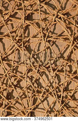 Twine On Wooden Hand Made Background Texture