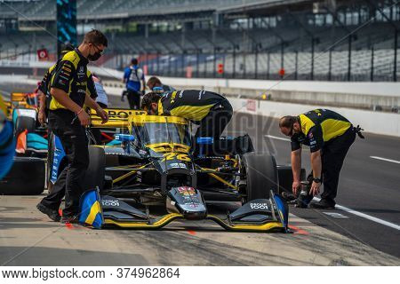 July 03, 2020 - Indianapolis, Indiana, USA: ZACH VEACH (26) of the United States practices for the GMR Grand Prix at the Indianapolis Motor Speedway in Indianapolis, Indiana.