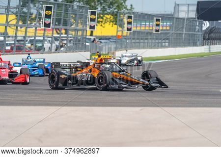 July 04, 2020 - Indianapolis, Indiana, USA: PATO OWARD (5) of Monterey, Mexico  races through the turns during the  race for the GMR Grand Prix at Indianapolis Motor Speedway in Indianapolis, Indiana.