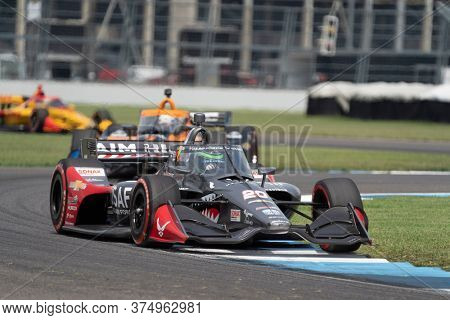 July 04, 2020 - Indianapolis, Indiana, USA: CONOR DALY (20) Of the United States   races through the turns during the  race for the GMR Grand Prix at Indianapolis Motor Speedway
