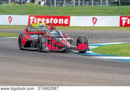 July 04, 2020 - Indianapolis, Indiana, USA: ALEX PALOU (R) (55) of Barcelona, Spain   races through the turns during the  race for the GMR Grand Prix at Indianapolis Motor Speedway